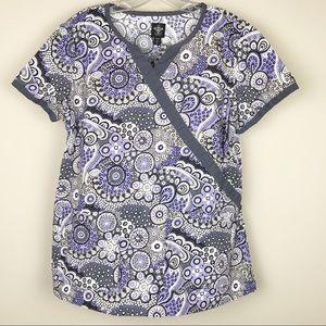 Med Couture Medium Purple Gray Paisley Scrub Top